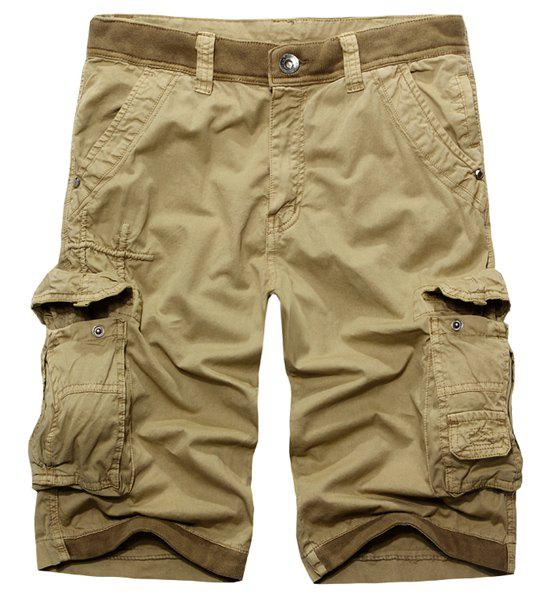 Casual Multi-Pockets Zip Fly Solid Color Cargo Shorts For Men - KHAKI 30