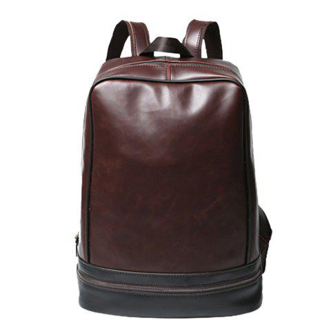 Vintage PU Leather and Zip Design Men's Backpack