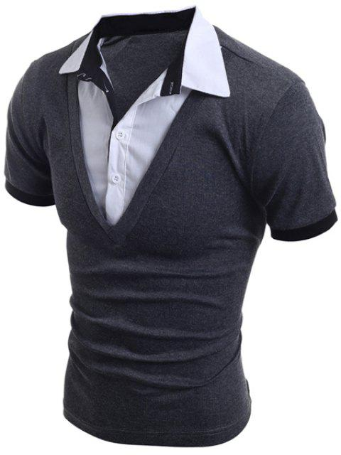 Stylish Turn-Down Collar Faux Twinset Short Sleeve Men's T-Shirt - GRAY L