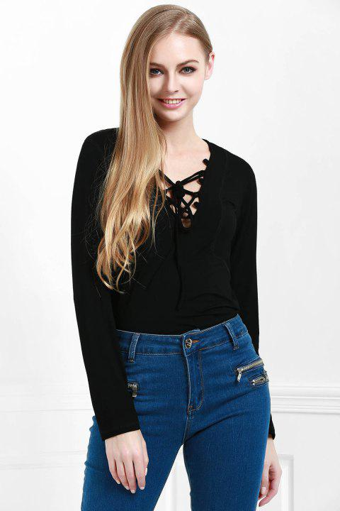 Stylish Lucky Lace Up Women's Top - BLACK M