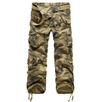 Casual Loose Fit Zip Fly Multi-Pockets Long Camo Cargo Pants For Men