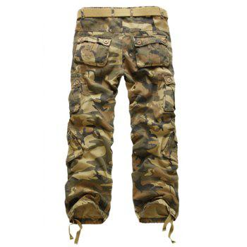 Casual Loose Fit Zip Fly Multi-Pockets Long Camo Cargo Pants For Men - EARTHY 36