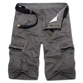 Buy Casual Loose Fit Zip Fly Solid Color Multi-Pockets Cargo Shorts Men DEEP GRAY
