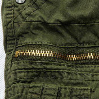 Loose Fit Casual Zip Fly Solid Color Multi-Pockets Cargo Shorts For Men - ARMY GREEN ARMY GREEN