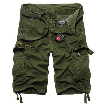 Loose Fit Casual Zip Fly Solid Color Multi-Pockets Cargo Shorts For Men - ARMY GREEN 34