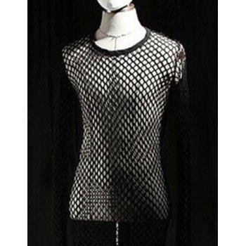 Hollow Out Grid Design Round Neck Long Sleeve Lengthen Men's T-Shirt - BLACK ONE SIZE(FIT SIZE XS TO M)