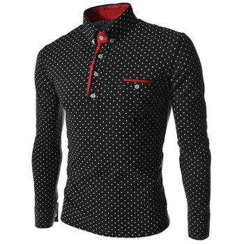 Turn-Down Collar Color Block Edging Long Sleeve Polka Dot Men's Polo T-Shirt