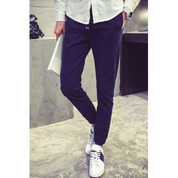 Solid Color Elastic Cuffs Slimming Narrow Feet Lace-Up Pants For Men