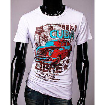 Hot Sale Cartoon Car and Letters Print Round Neck Short Sleeves Men's 3D Printed T-Shirt