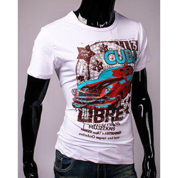 Hot Sale Cartoon Car and Letters Print Round Neck Short Sleeves Men's 3D Printed T-Shirt - WHITE L