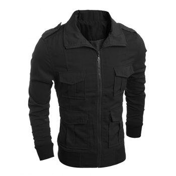 Turn-Down Collar Epaulet Design Multi-Pocket Long Sleeve Men's Jacket
