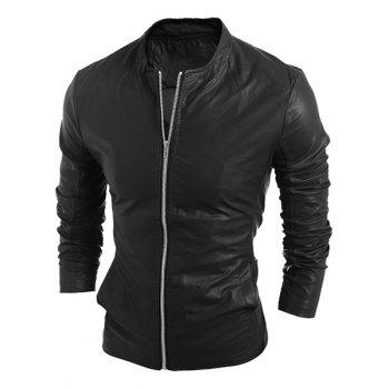 Simple Stand Collar Solid Color Long Sleeve Men's PU-Leather Jacket