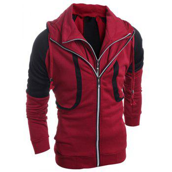 Hooded Color Block Splicing Faux Twinset Double Zipper Design Long Sleeve Men's Hoodie - RED L