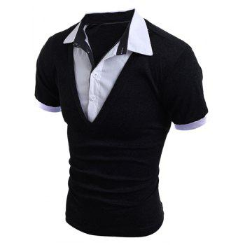 Stylish Turn-Down Collar Faux Twinset Short Sleeve Men's T-Shirt