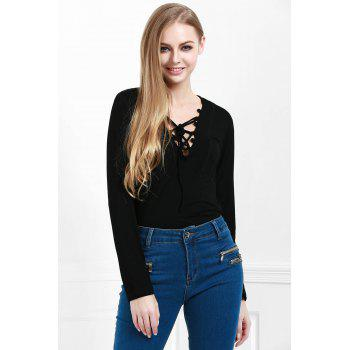 Stylish Lucky Lace Up Women's Top