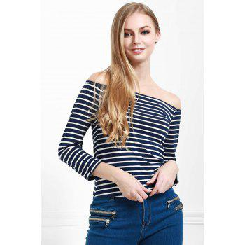 Stylish Off The Shoulder Striped Seamless Women's Top - BLUE L