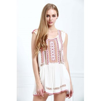 Casual Beading Openwork Embroidery Dress For Women