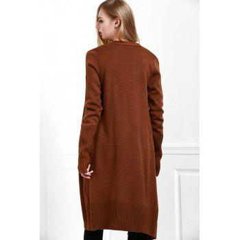 Open Front Pocket Long Cardigan - COFFEE S