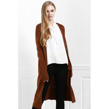 Open Front Pocket Long Cardigan - M M