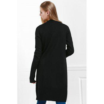 Open Front Pocket Long Cardigan - BLACK BLACK