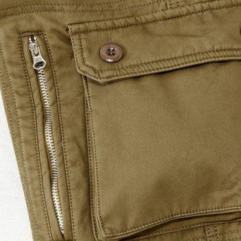 Casual Loose Fit Zip Fly Multi-Pockets Long Solid Color Cargo Pants For Men - ARMY GREEN 34