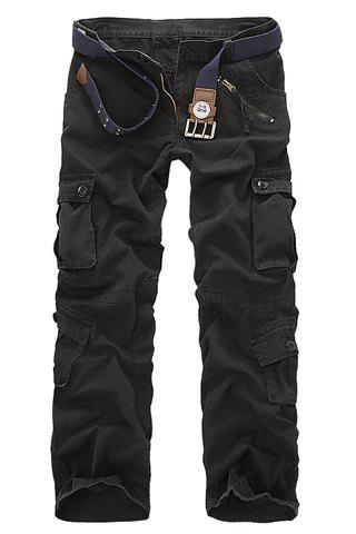 Casual Loose Fit Zip Fly Multi-Pockets Long Solid Color Cargo Pants For Men - BLACK 34
