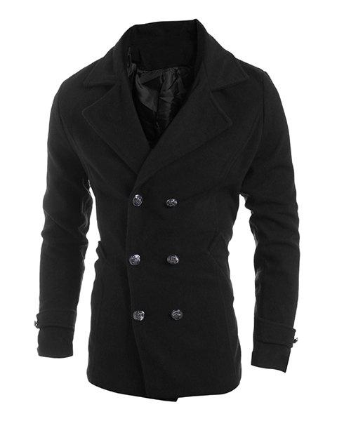 Elegant Turn-Down Collar Double Breasted Long Sleeve Men's Woolen Blend Coat - BLACK XL