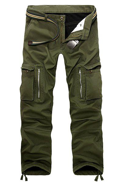 Casual Loose Fit Zip Fly Multi-Pockets Long Solid Color Cargo Pants For Men