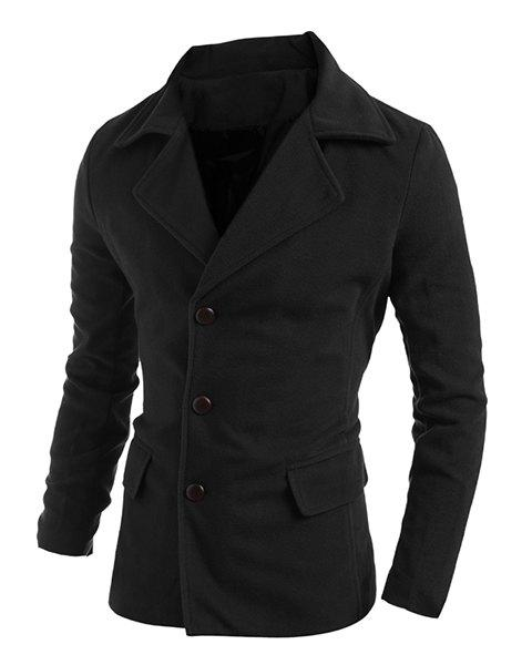 Elegant Turn-Down Collar Back Slit Design Long Sleeve Men's Woolen Blend Coat - BLACK XL
