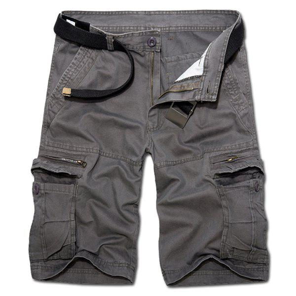 Casual Loose Fit Zip Fly Solid Color Multi-Pockets Cargo Shorts For Men - DEEP GRAY 32