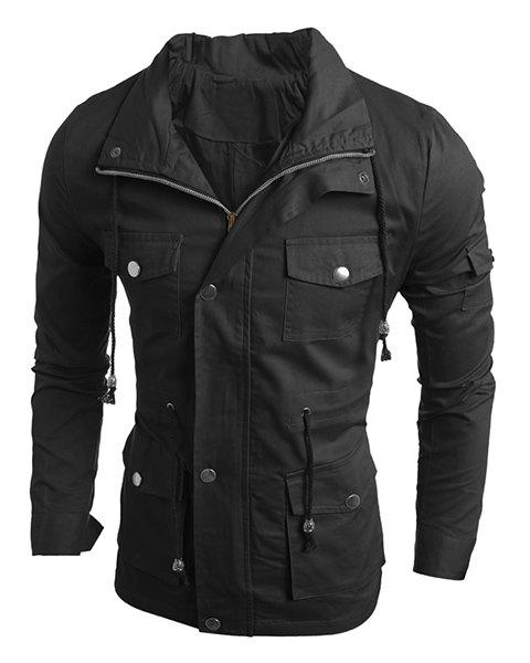 Turn-Down Collar Drawstring Waist Multi-Pocket Long Sleeve Men's Jacket - BLACK XL