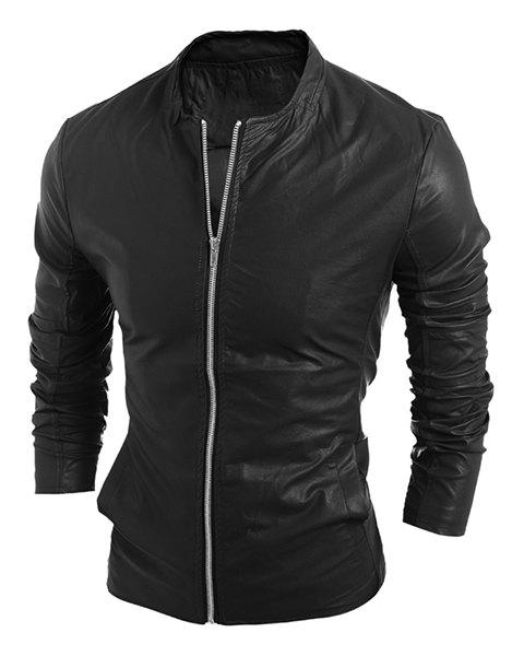 Simple Stand Collar Solid Color Long Sleeve Men's PU-Leather Jacket - BLACK L
