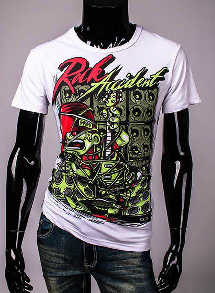 Casual Loose Fit Round Collar Pullover Letter Printed T-Shirt For Men - WHITE M