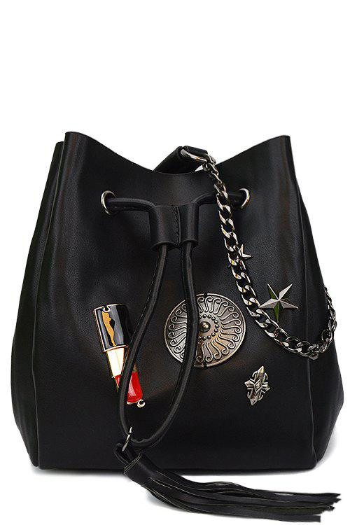 Lipstick Badge Chain Crossbody Drawstring Bag - BLACK