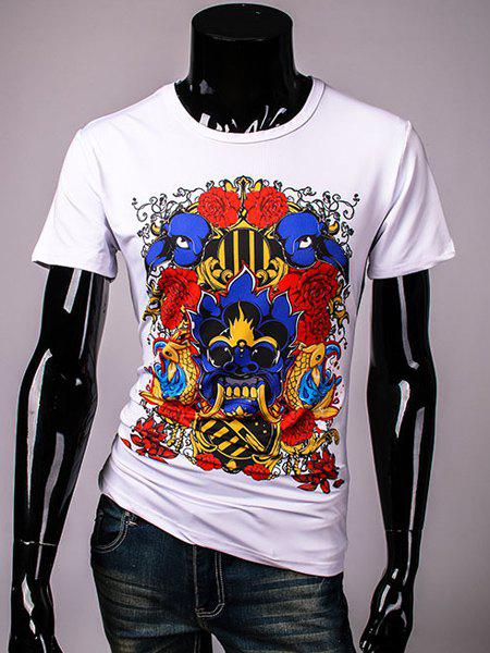 Abstract 3D Skulls and Rose Print Round Neck Short Sleeves Men's Slimming T-Shirt - WHITE L