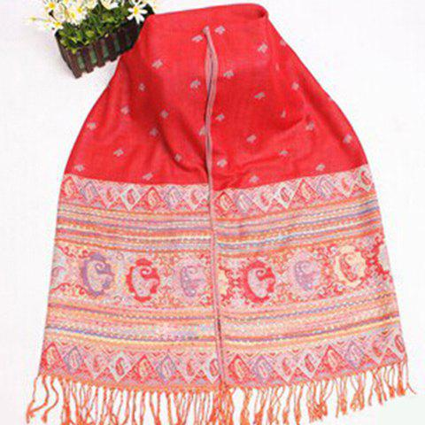 Fashionable Ethnic Style Tiny Floral Pattern Pashmina For Women - RED