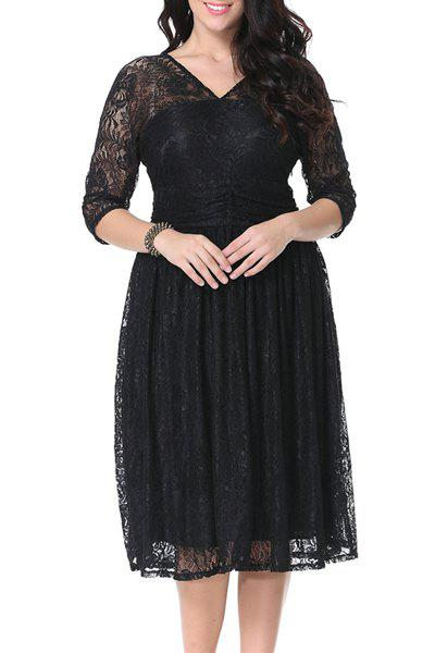 Stylish V-Neck 3/4 Sleeve Solid Color Plus Size Women's Lace Dress - BLACK 3XL