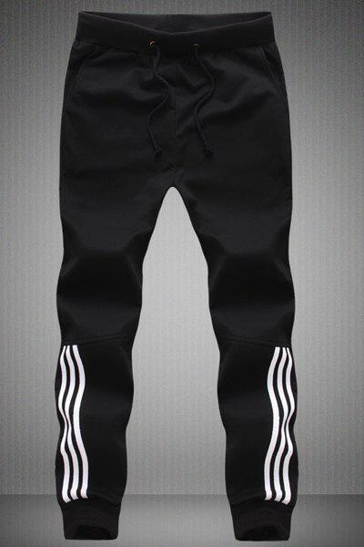 Striped Embellished Lace-Up Beam Feet Men's Pants