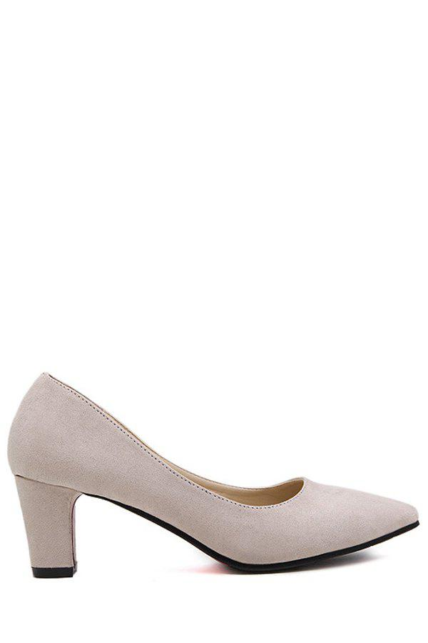 Concise Suede and Chunky Heel Design Pumps For Women - APRICOT 38