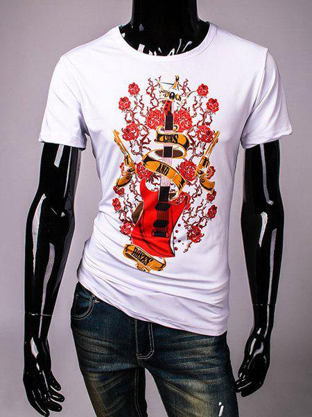 Casual Loose Fit Pullover Round Collar Guitar Printed T-Shirt For Men - WHITE M