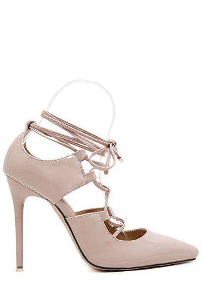 Party Cross-Strap and Stiletto Heel Design Pumps For Women - NUDE 38