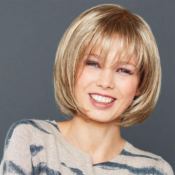 Fashion Mixed Color Straight Bob Style Short Heat Resistant Synthetic Wig For Women trendy bob straight short natural black neat bang heat resistant synthetic capless wig for women