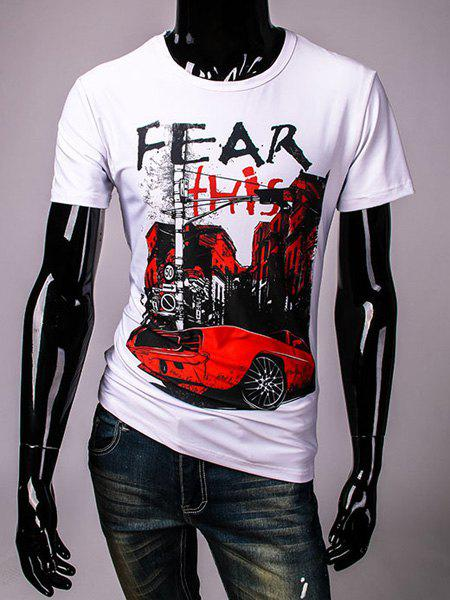 Casual Loose Fit Pullover Round Collar Car Building Printed T-Shirt For Men - WHITE M