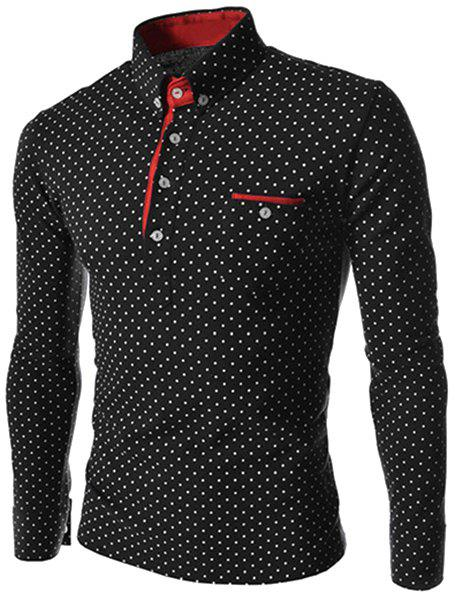 Turn-Down Collar Color Block Edging Long Sleeve Polka Dot Men's Polo T-Shirt - BLACK XL