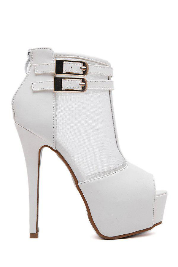 Sexy Gauze and Buckles Design Peep Toe Shoes For Women - MILK WHITE 37