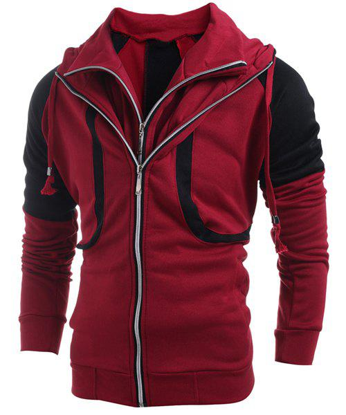 Hooded Color Block Splicing Faux Twinset Double Zipper Design Long Sleeve Men's Hoodie