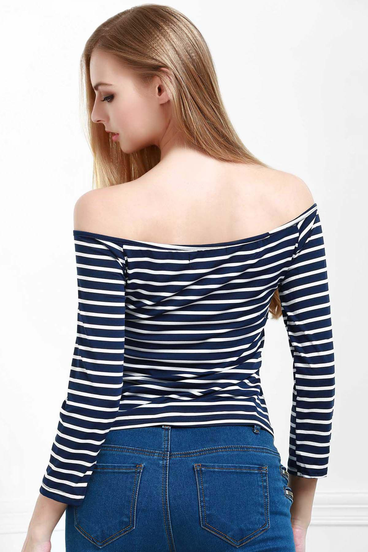 Stylish Off The Shoulder Striped Seamless Women's Top - BLUE S