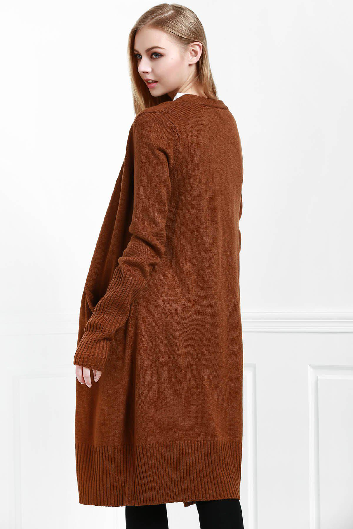 Open Front Pocket Long Cardigan - COFFEE M