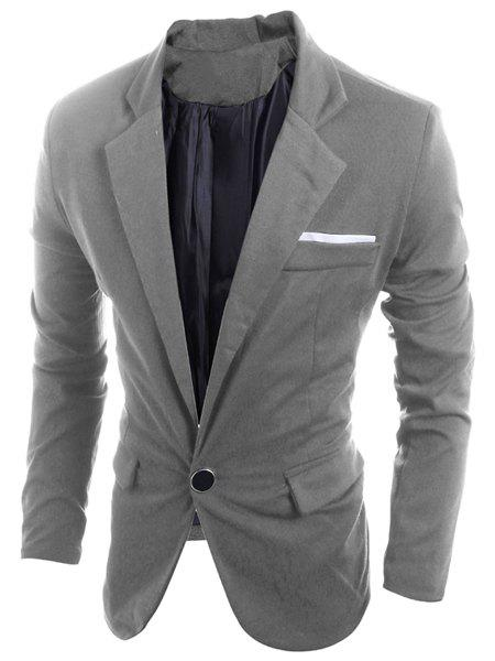 Turn-Down Collar Slimming Back Slit Design Long Sleeve Men's Blazer - GRAY XL