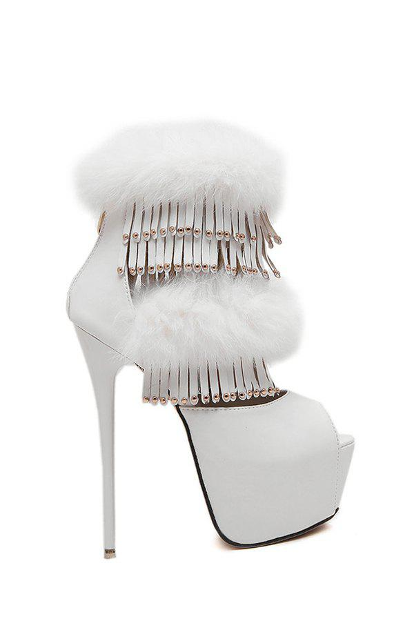 Trendy Fringe and Faux Fur Design Peep Toe Shoes For Women - WHITE 39